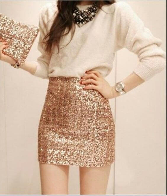 sequin mini skirt with sweater christmas party outfit ideas for girls