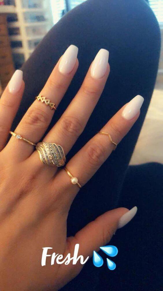 short white gel coffin nails