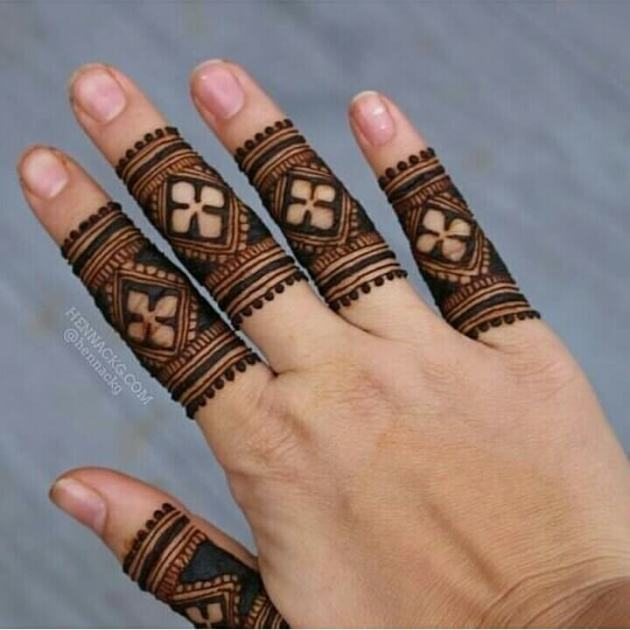 stylish ring style henna mehndi designs for fingers