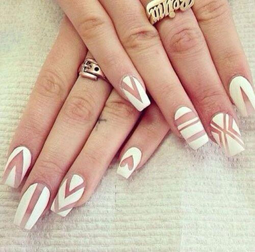 white and clear nail art designs