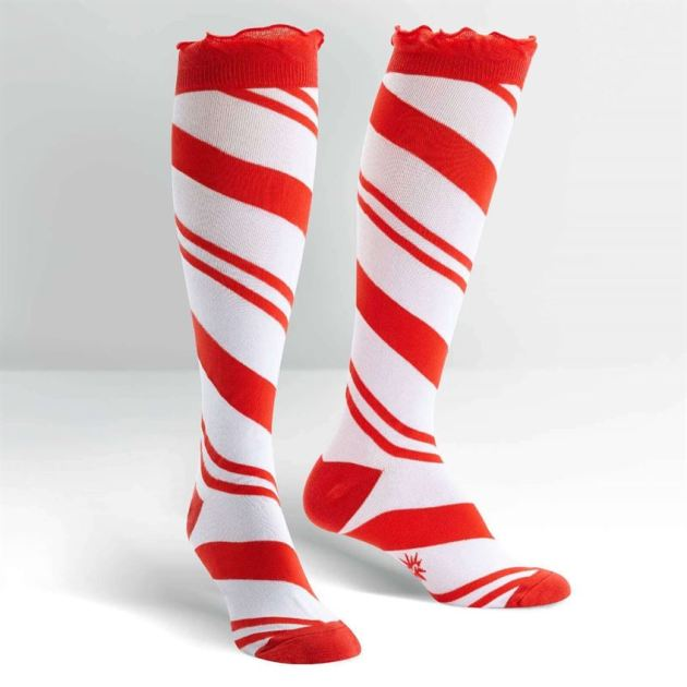 candy cane knee high socks for women