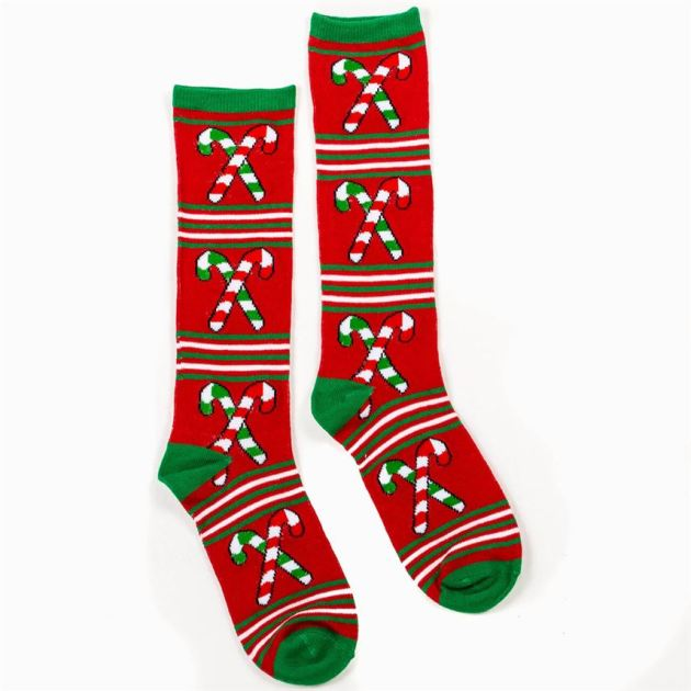 ugly christmas sweater candy cane socks