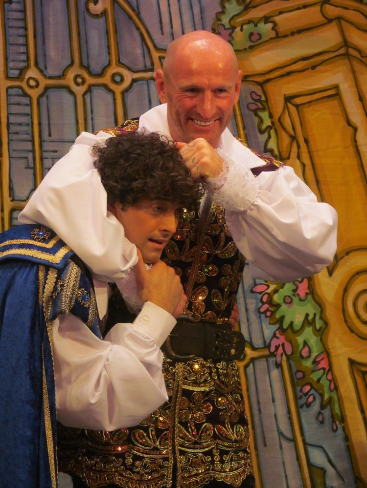 Gareth gets to grips with panto co-star, Lee Mead, but its all good fun at Cardiff's New Theatre for the press launch of Cinderella. Photo: Andy Howells