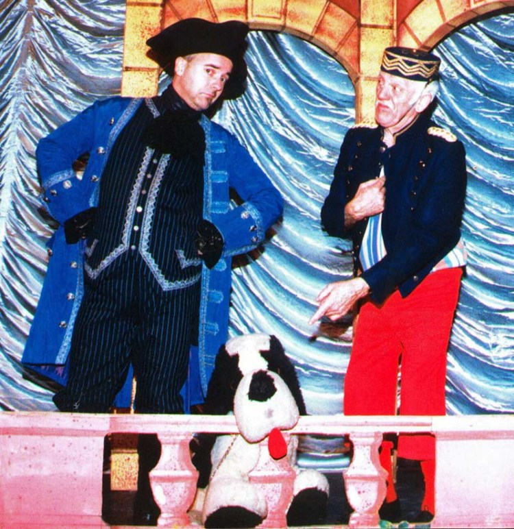 Ceri pictured with his father, the entertainer, Stan Stennett in the pantomime,  Cinderella  Picture Courtesy of Ceri Stennett.