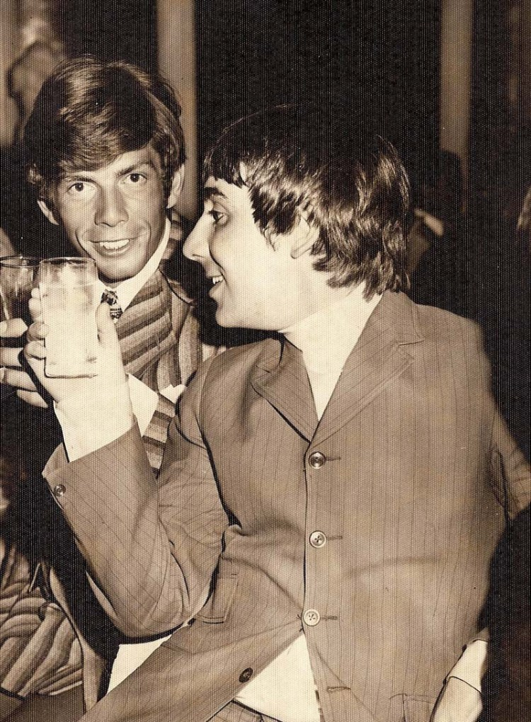 Barry Whitwam pictured with Keith Moon at their joint birthday party in Michigan during 1967. Barry will be performing with the current line-up of Herman;s Hermits at St David's Hall in March.