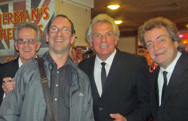 Andy Howells meets Barry Whitwam of Herman's Hermits at St David's Hall, Cardiff on a previous Sensational 60s Experience tour. Also pictured are Geoff Foot and Paul Cornwell