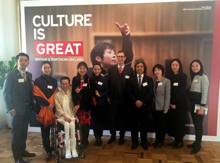 Nick Marchand, British Council, with artists of the Inspiring Women in the Arts Campaign  PHOTO: British Council China
