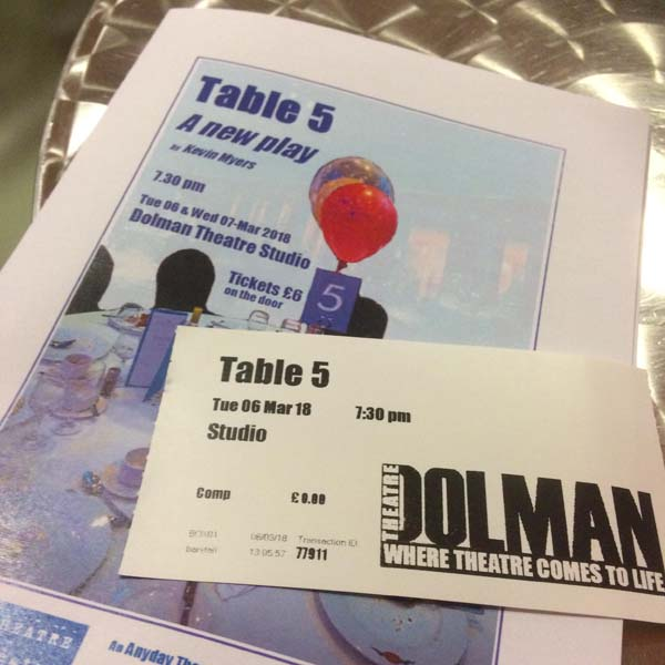 Kevin Myers' Table 5 is performed at The Dolman Theatre studio on March 6 and 7.