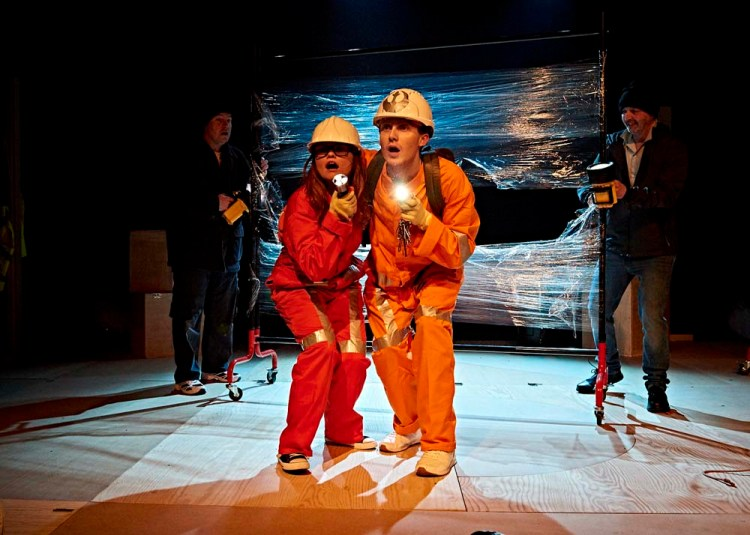 The cast of  Dirty Protest's  Star Wars  inspired play,  Lightspeed From Pembroke Dock  by Mark Williams, currently touring South Wales.