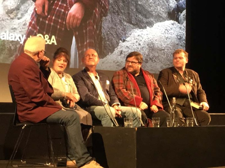Dick Fiddy (left) hosts the first  Hitchhikers Guide To The Galaxy  Q&A session with Joan Stribling, Rod Lord, Kevin Jon Davies and Jem Roberts Photo: Andy Howells