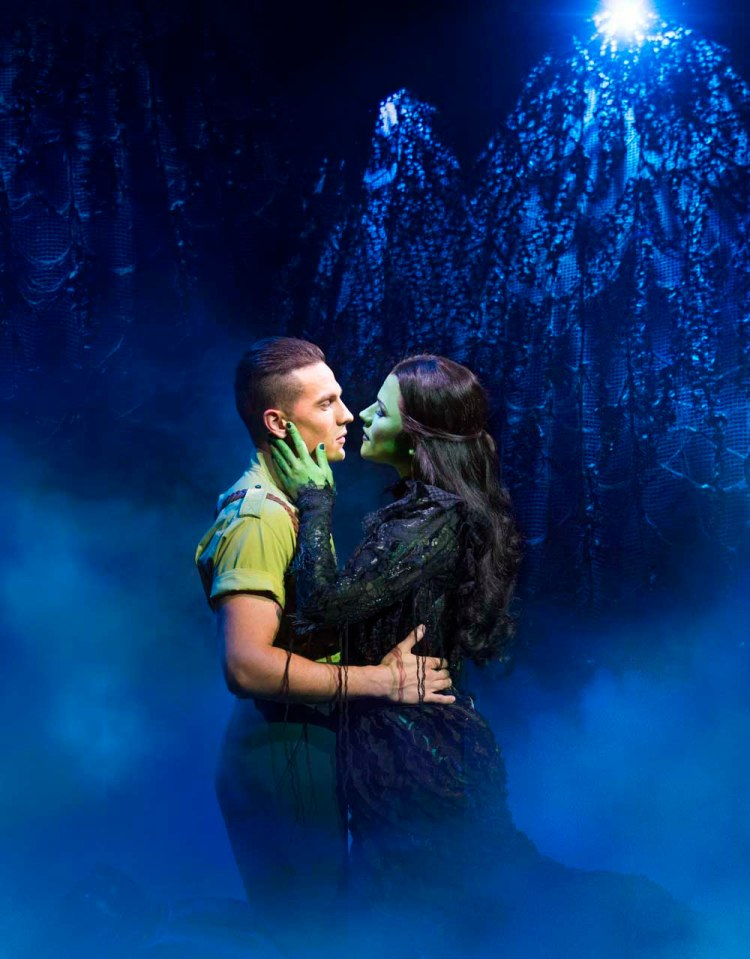 Aaron Sidwell and Amy Ross as Elphaba in Wicked, which runs at Wales Millennium Centre until November 24, 2018. Photos by Matt Crockett