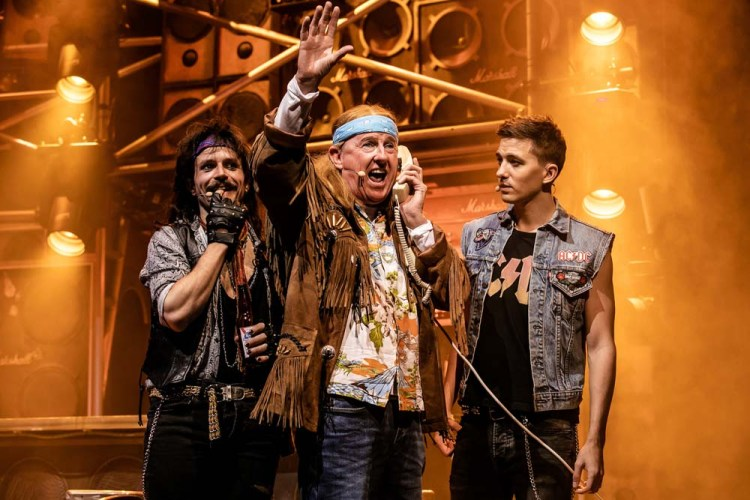 Luke Walsh as 'Drew', Lucas Rush as 'Lonny' and Kevin Kennedy as 'Dennis' in the UK tour of  Rock of Ages . The show plays Bristol Hippodrome until Saturday 20th April 2019. Photo Richard Davenport
