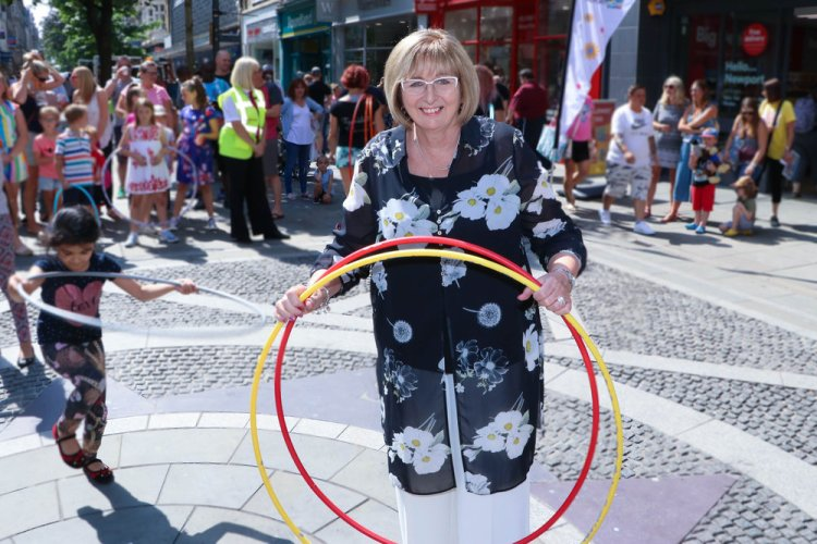 Hooping event at 2018's Big Splash Festival in Newport, which has been nominated for the Arts, Business & Brand Identity Award.