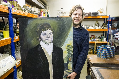 Actor James Symonds with his Darcy portrait Photo by Paul Johnson