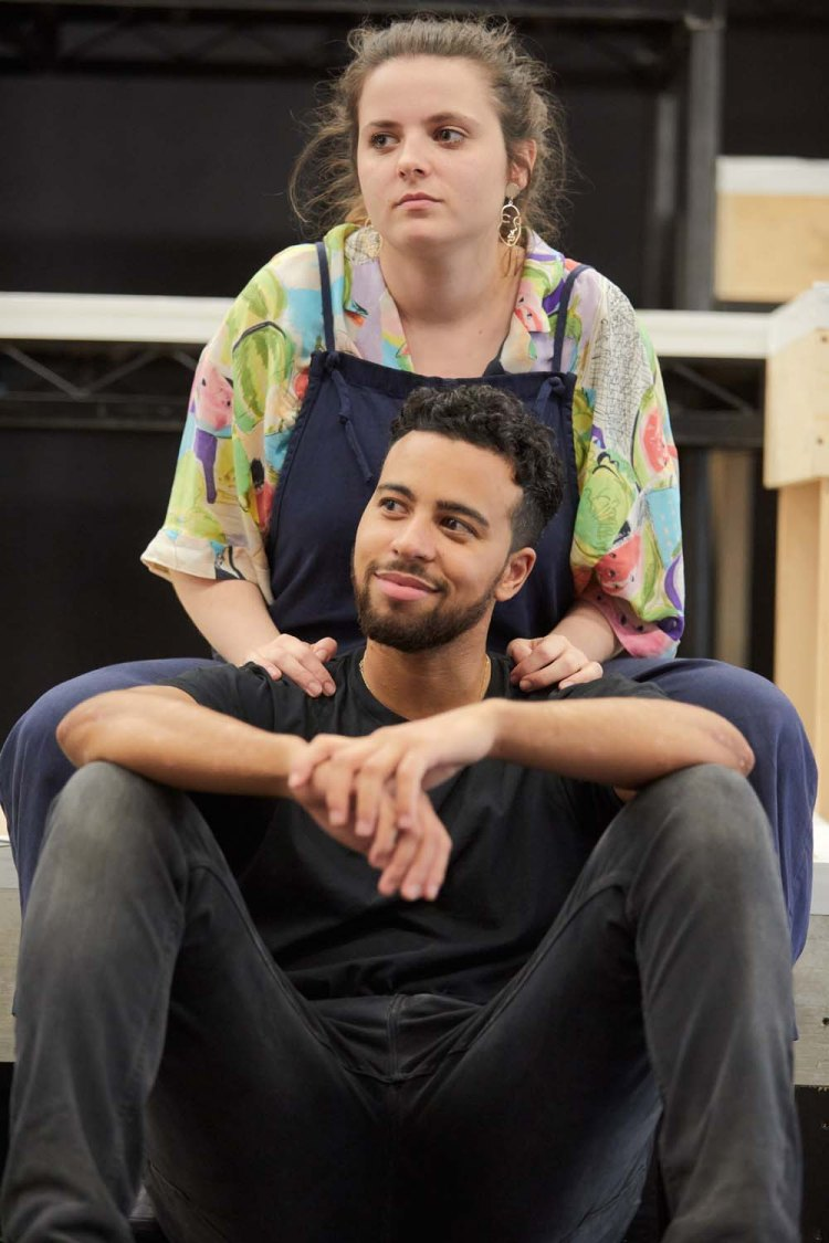 Aaron Anthony (Nate) & Gabrielle Creevy (Yaz) in rehearsals for  Lose Yourself  which will premiere at Cardiff's Sherman Theatre.  Picture: Mark Douet