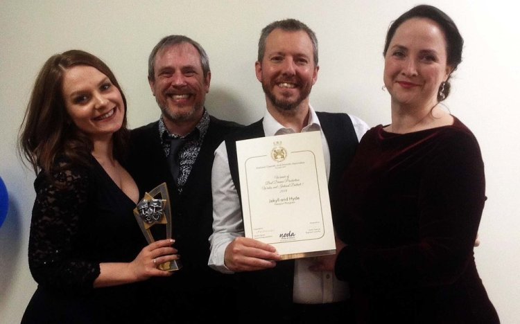 BEST DRAMA PRODUCTION: Liz Keech, Jes Hynes, Stephen Hopkins and Cathryn Rose display the award for Best Drama Production of Newport Playgoers presentation of  Dr Jekyll and Mr Hyde  which ran at the Dolman Theatre, Newport during October 2018.