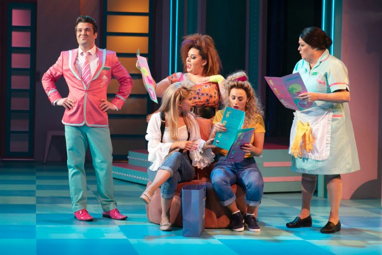 Joe McElderry, Rebecca Mendoza, Tara Verloop, Karina Hind and Kate Robbins in Club Tropicana which runs at Wales Millennium Centre until August 17, 2019.