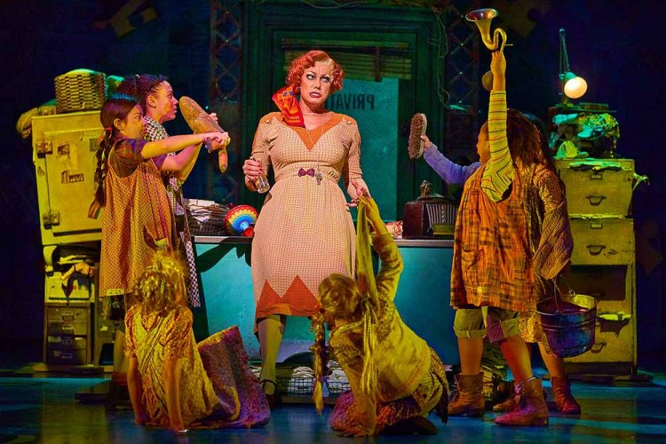 Craig Revel Horwood as Miss Hannigan with ensemble cast in Annie The Musical which plays Wales Millennium Centre from August 19-31, 2019. Photo Paul Coltas