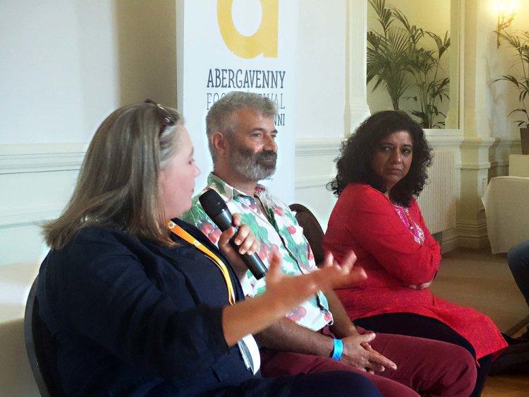 Abergavenny Food Festival CEO, Aine Morris, Sandor Katz and  Asma Khan at the press call. Photo: Entertainment South Wales