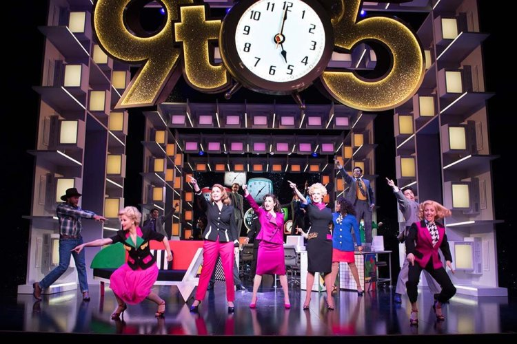 9 TO 5 THE MUSICAL. Caroline Sheen 'Violet Newstead', Amber Davies 'Judy Bernly', Natalie McQueen 'Doralee Rhodes' and company. Photo Craig Sugden