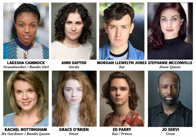 The cast of the sherman theatre's Christmas show, The Snow Queen which runs from November 29 to December 31 2019.