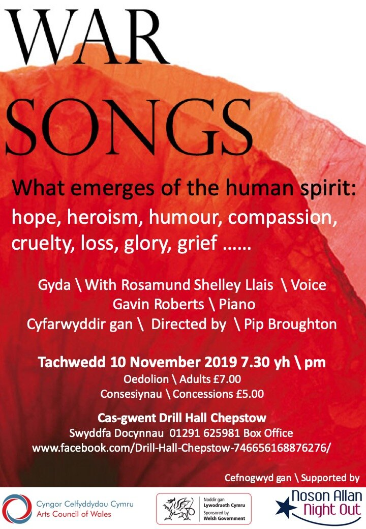 Gavin Roberts and Rosamund Shelley will perform the recital, War Songs at The Drill hall, Chepstow on Remembrance Sunday.