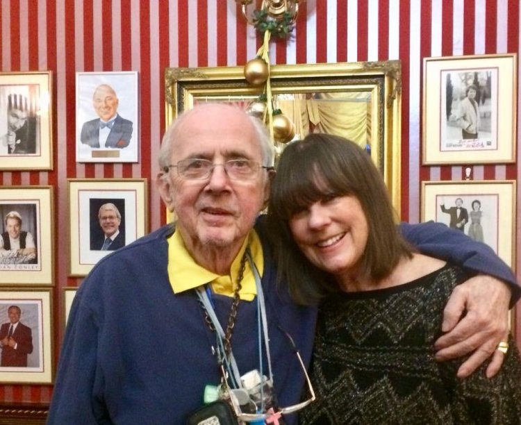 A recent photograph of Judy Matheson reunited with Boeing-Boeing co-star, Richard O Sullivan. Photograph courtesy of Judy Matheson.