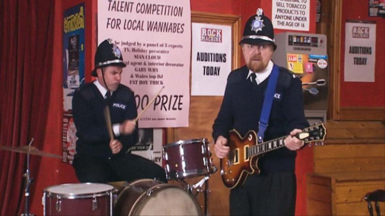 Keiron Self and Boyd Clack turn on the music for the High Hopes episode, Stardust. Photo: BBC IPlayer