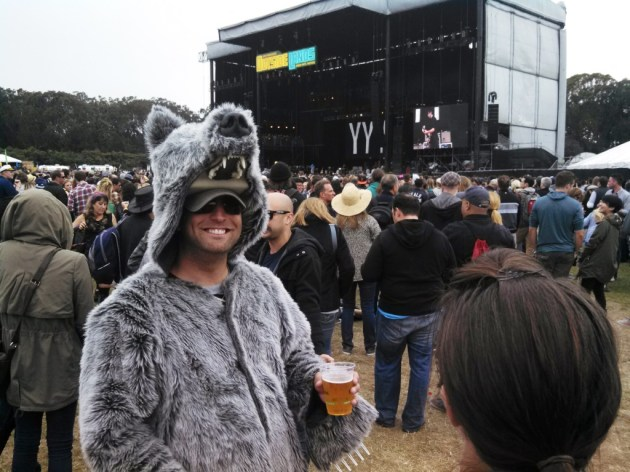 Grizzly Bear - not the performer but a well-dressed punter in front of the main stage. (photo by Brad Auerbach)