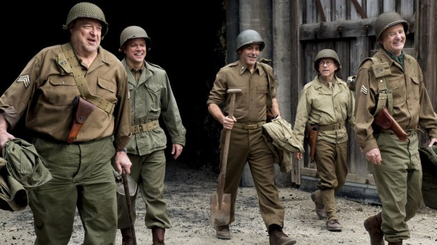 Goodman, Damon, Clooney, Balaban and Murray: donning soldier's helmets and saving art