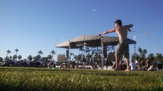 A guy swinging his balls at the Outdoor Theatre