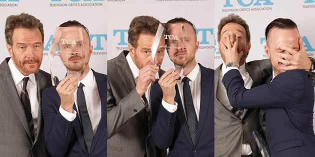 At the TCA Awards, Breaking Bad stars Bryan Cranston and Aaron Paul (photo courtesy of TCA)