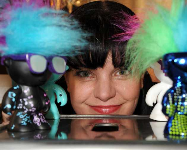 Pauley Perrette with WowWee bots
