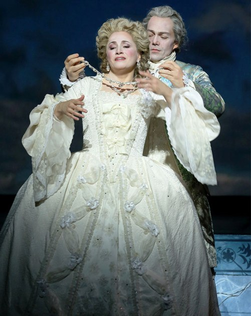 Patricia Racette  (Marie Antoinette) with Christopher Maltman (Beaumarchais) at Ghost of Versailles ... above photo credits to Craig Matthews