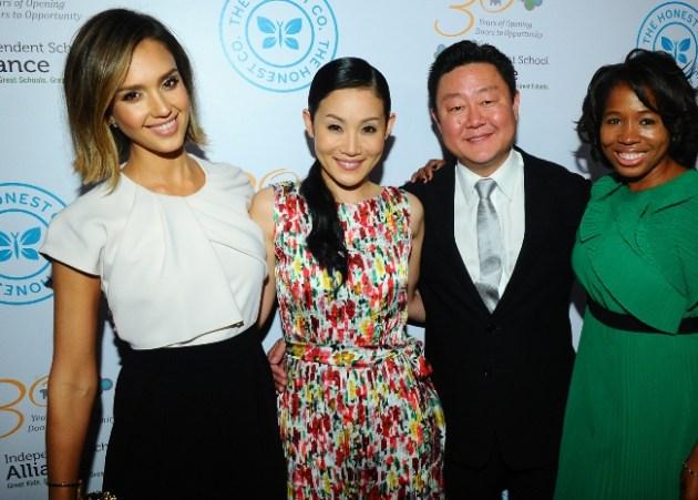 Actress Jessica Alba, Visionary Award Honorees Mira & Brian Lee & Independence School Alliance Executive Director, Keishia Gu