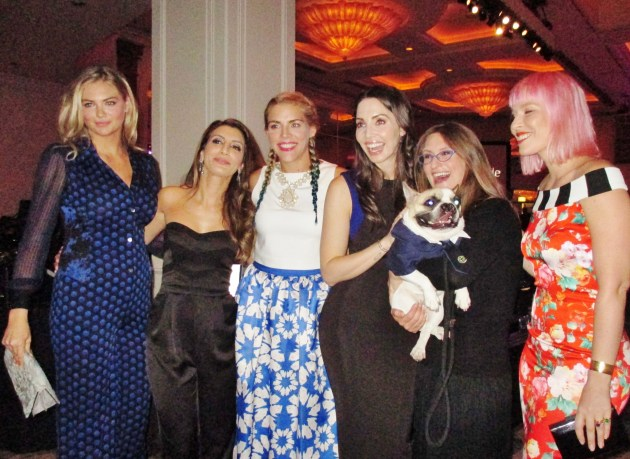 At Operation Smile gala (from left) Kate Upton, Nasim Pedrad, Busy Philipps, Whitney Cummings, Lentil-Ambassa-dog/Lindsay Condefer, and Nataha Bendingfield (photo by Margie Barron)