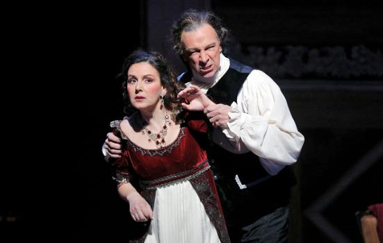 Soprano Alexia Voulgaridou is Tosca and bass-baritone Greer Grimsley is Scarpia in San Diego Opera's TOSCA (February, 2016). Photo copyright Cory Weaver.