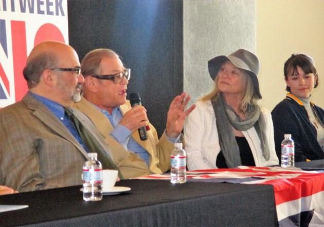 Louis Fantasia, Michael York, Judy Geeson, Lexie Helgerstrom chat about BritWeek LA. (photo by Margie Barron)