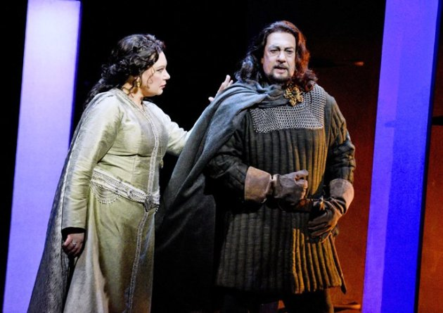 Lady Macbeth encouraging Macbeth to do the deed! (Photo Credit - LA Opera)
