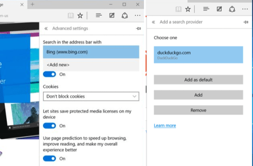 Microsoft Edge View advanced settings