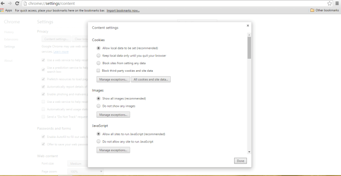 chrome-content settings