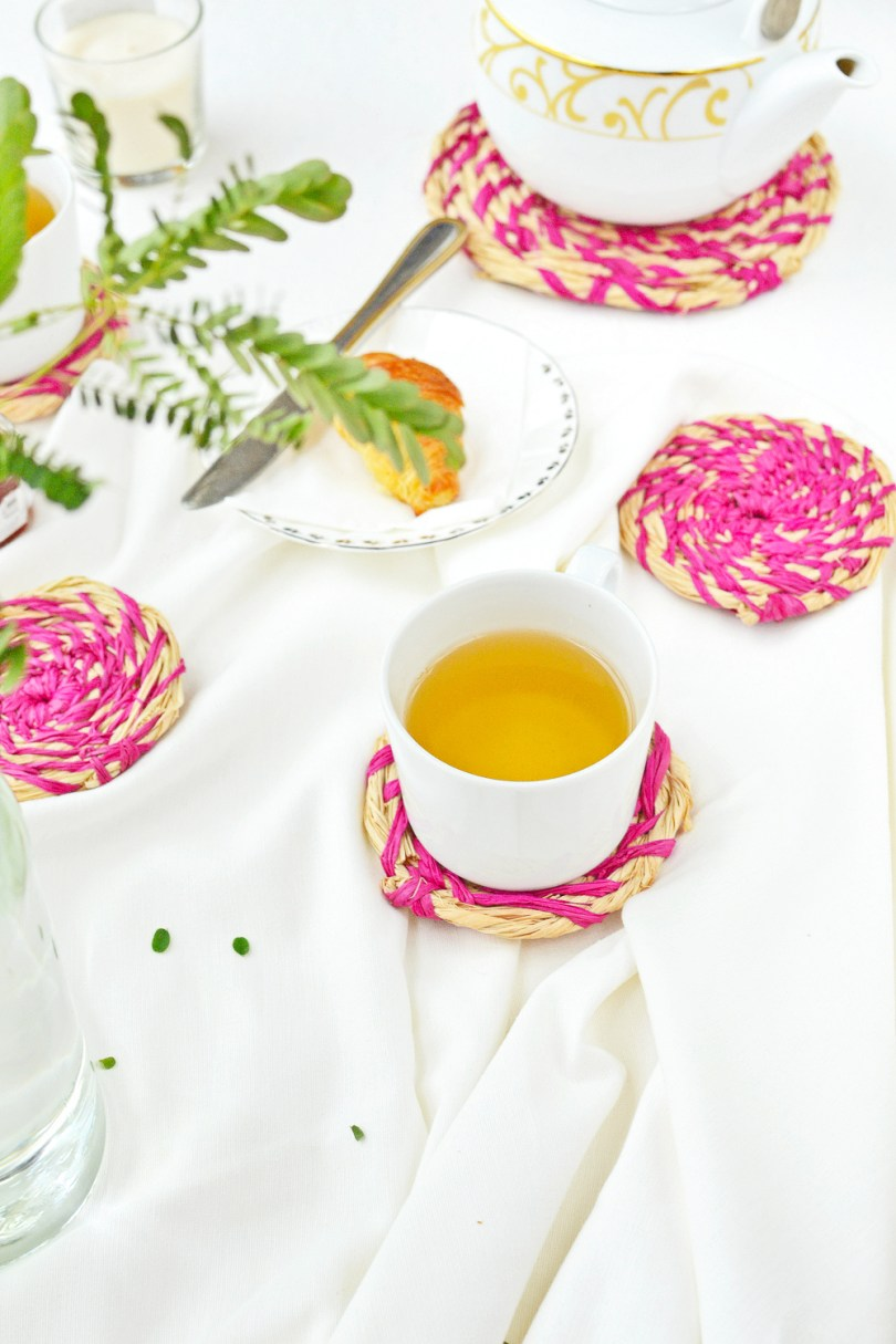 Make these lovely raffia coasters for a worry-free tea time