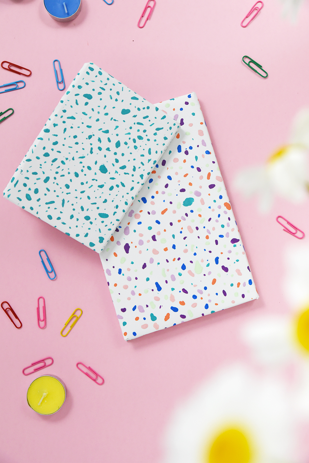 Learn how to make terrazzo style notebooks