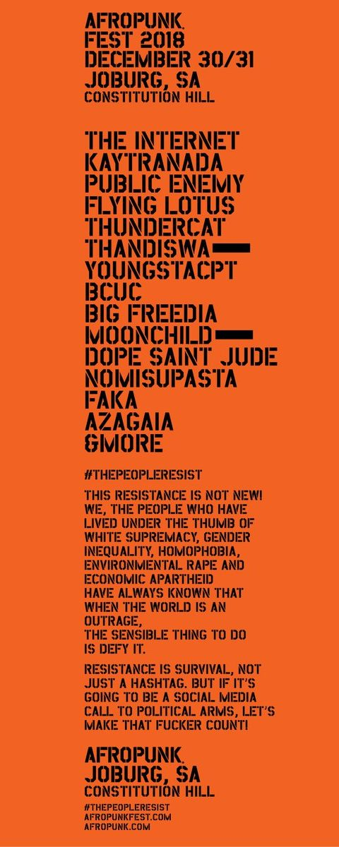 Here's the #AFROPUNK Fest Joburg Line-Up