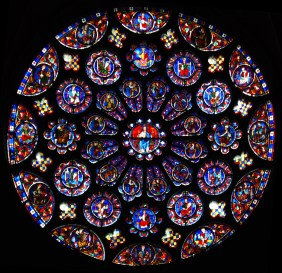 The South Transept rose window in Chartres Cathedral, made c.1225