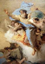 Cartoon of a bearded God, with arm outstretched, on a cloud with angels and cherubs