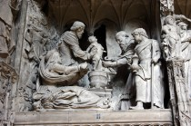 Sculpture from Chartres Cathedral showing the ritual circumcision of the Jewish baby Jesus