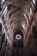 Looking back from the alter towards the main door with its rose window