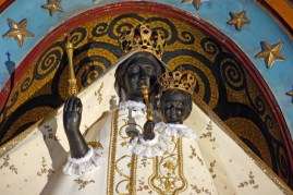Close up of the face of the Black Madonna and Black Baby Jesus