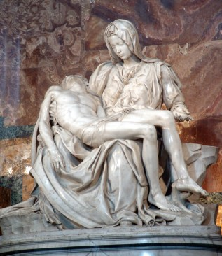 This famous statue of a crucified Jesus, lying dead on his mother's lap, was created by Michelangelo in 1488-89, and is now in St Peter's in the Vatican City in Rome